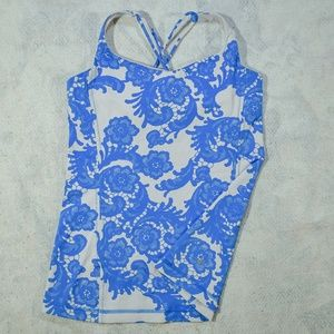 Lululemon Athletica Baby Blue White Cross Back Top